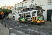 The famous old tram on street Lisbon (Portugal). November, 2013. — Stock Photo
