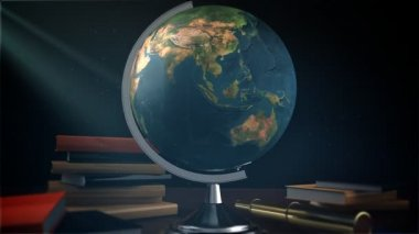 Spinning globe with books — Stock Video