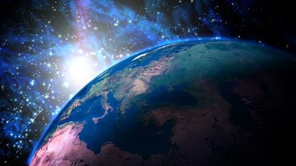 Planète terre avec le lever du soleil dans l'univers. (caméra mobile) image de synthèse. — Vidéo