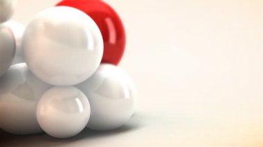 アニメーションの赤と白の球。抽象的な背景。ゆっくりと移動色球です。様々 なタイトルのための素敵で暖かいのアニメーションの背景. — ストックビデオ