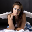 Pretty young angel in white cloth — Stock Photo #3469020