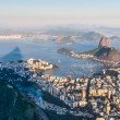 Sugarloaf, Botafogo Beach and Guanabara bay at sunset - Stock Photo