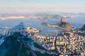 Sugarloaf, Botafogo Beach and Guanabara bay at sunset — Foto Stock