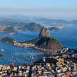 Sugarloaf, Botafogo Beach and Guanabara bay at sunset — Stock fotografie