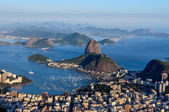 Sugarloaf, Botafogo Beach and Guanabara bay at sunset — Stok fotoğraf