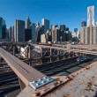 图库照片: Brooklyn Bridge view of Lower Manhattan