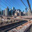 Brooklyn Bridge view of Lower Manhattan — Foto Stock