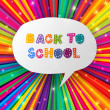 Stock Vector: Back to school words in speech bubble on colorful rays. Vector i
