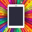 Royalty-Free Stock Vector Image: Tablet device on colorful rays background. Conceptual illustrati
