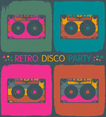 Retro disco party invitation in pop-art style. Vector, EPS8 — Stock Vector