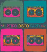 Retro disco party invitation in pop-art style. Vector, EPS8 — Stock Vector