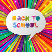 Back to school words in speech bubble on colorful rays. Vector i — Vector de stock