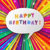 Všechno nejlepší k narozeninám karta na barevné paprsky pozadí. vektor, eps10 — Stock vektor