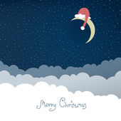 Greeting card with christmas moon. Vector illustration, EPS10. — Stock Vector