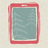 árboles de navidad en la pantalla del dispositivo tablet, tecnología concepto illu — Vector de stock