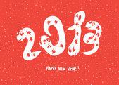 """Primitiva doodle ritningar av 2013 """"snake"""" år. vektor bak — Stockvektor"""