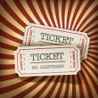 Cinema tickets on retro rays background, vector. — Imagen vectorial