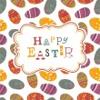 Easter greeting on seamless eggs pattern. Vector, EPS10 — Stock Vector