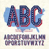 Alfabeto para o quatro de julho e celebrações patrióticas. vector, — Vetorial Stock