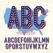 Alphabet For Fourth Of July And Patriotic Celebrations. Vector, — Stok Vektör