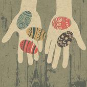 复活节彩蛋在手中。矢量 eps10 — 图库矢量图片