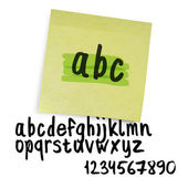 Handwritten alphabet (uppercase letters with numbers). Vector. — Stock Vector