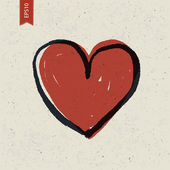 Heart sign on paper texture. Vector, EPS10 — Stockvector
