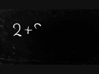 Simple math operation writing chalk on blackboard. — Stock Video