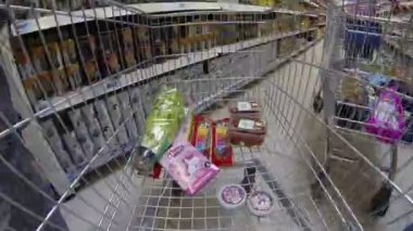 Moscow, 26 march 2013. Supermarket Real, view from buyers trolley. For Editorial use only. — Stockvideo