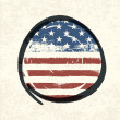 Grunge american flag themed button american flag. Vector, EPS10 — Stock Vector