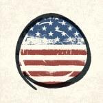 Grunge american flag themed button american flag. Vector, EPS10 — Stock Vector