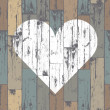 White heart on wooden background. Vector, EPS10 — Imagen vectorial
