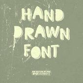 Hand drawn font with shadow. Vector — Stock Vector