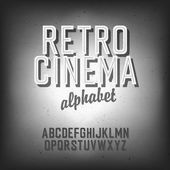 Old cinema styled alphabet. With textured background, vector, EP — Stock Vector