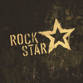 Rock star grunge icon. With stained texture, vector — Stock Vector