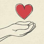 Heart in hands. — Stock Vector