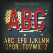 American themed alphabet. With elements for Independence Day, ve — Stock Vector