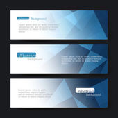 Collection of three horizontal banner designs, abstract blue tri — Stock Vector