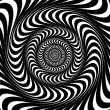 Black and white swirl lines. Optical illusion background, vector — Stock Vector