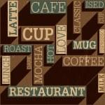 Coffee themed seamless retro background, vector — Stock Vector