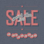 Sale coupon. Template with textured background and percents tags — Stock vektor