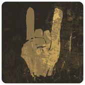 """Grunge """"rock on"""" gesture. Vector — Stock Vector"""