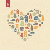 Heart shaped many houses icons. Realty concept. Vector, EPS10 — Stock Vector