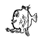 Piranha. Doodle illustration. Vector — Stock Vector