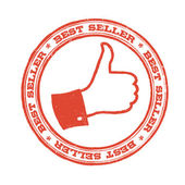 Best seller stamp with thumb up symbol. Vector — Stockvector