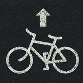 Znak drogowy rowerów i strzałki na tle asfaltu. wektor — Wektor stockowy