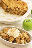 Apple Cobbler Crisp whipped cream cinnamon — Stock Photo