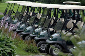 Parked Golf Carts at Club House — Stock Photo