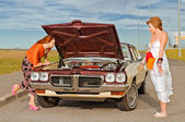 Old American car brokedown — Stock Photo