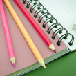 Pencil, eraser, notebook — Stock Photo